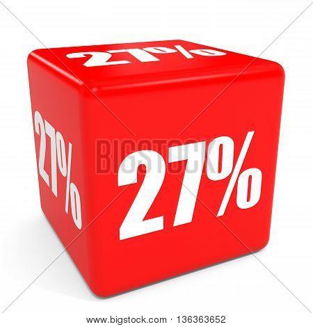3D Red Sale Cube. 27 Percent Discount.