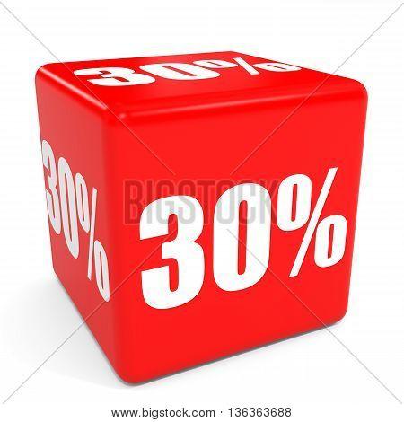 3D Red Sale Cube. 30 Percent Discount.