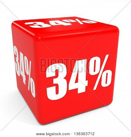 3D Red Sale Cube. 34 Percent Discount.