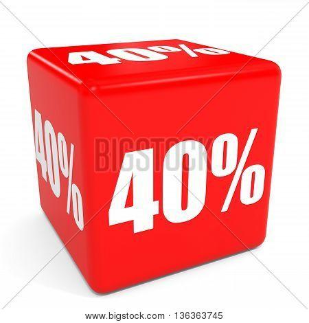 3D Red Sale Cube. 40 Percent Discount.