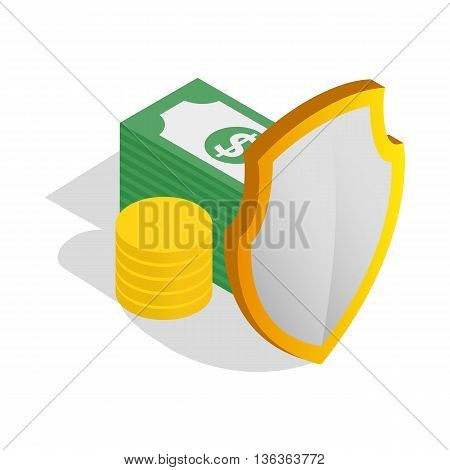 Money savings icon in isometric 3d style isolated on white background. Finance symbol