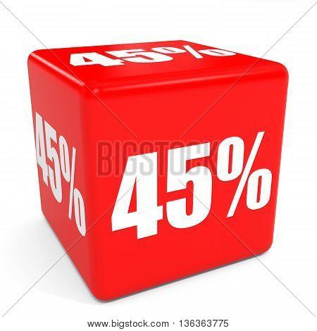 3D Red Sale Cube. 45 Percent Discount.