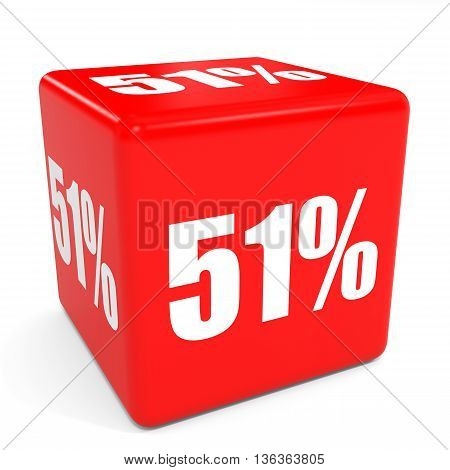 3D Red Sale Cube. 51 Percent Discount.