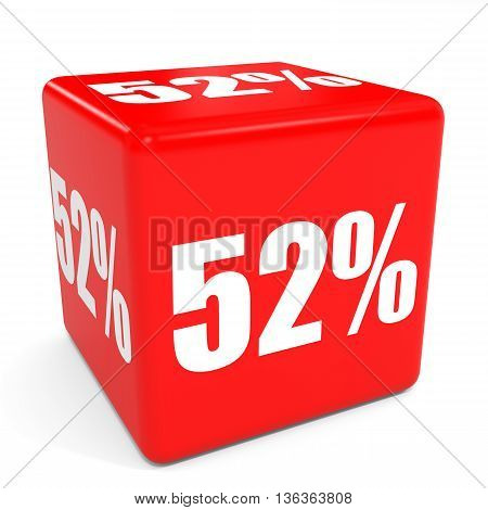 3D Red Sale Cube. 52 Percent Discount.