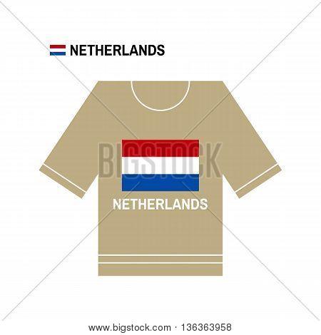 Vector t-shirt symbol. Netherlands National sport team isolated on white. European Championship.
