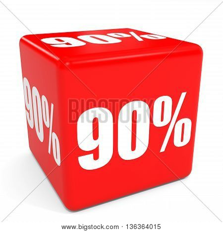 3D Red Sale Cube. 90 Percent Discount.