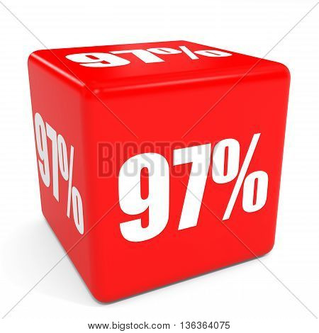 3D Red Sale Cube. 97 Percent Discount.