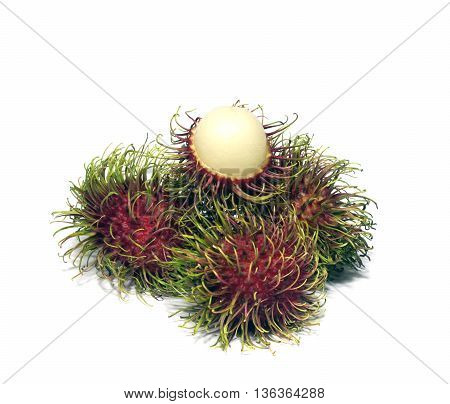 The Tropical fruit rambutan on white background.
