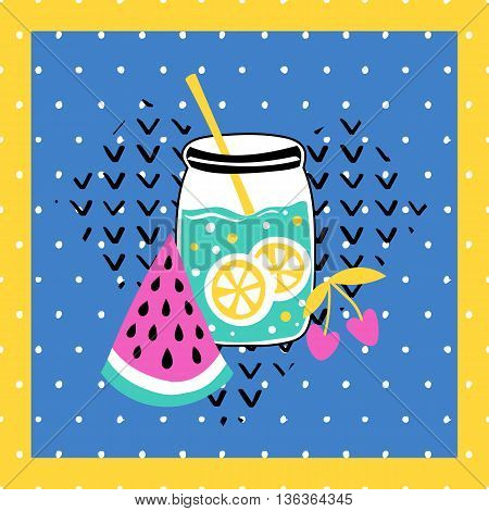 Summer vector card. Colorful  items. Tropical background in grunge style.