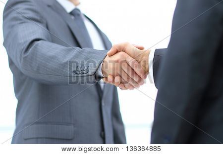 Handshake in agreement businessmen isolated on white background