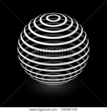 Abstract Transparent Sphere Element with Striped Pattern Envelope Isolated on Black Background
