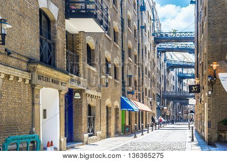 London UK - June 24, 2016 - Street view of Shad Thames a historic riverside street next to Tower Bridge in Bermondsey