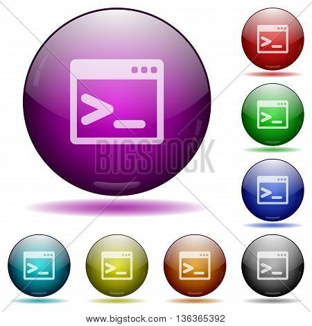Set of color Command prompt glass sphere buttons with shadows.
