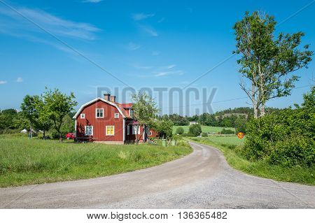 The countryside of Vikbolandet during midsummer in Sweden