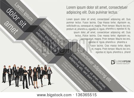 Template design with business people. Infographic design. Sketch silhouette.