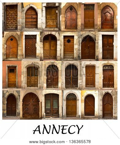 A collage of 24 wooden doors presented in a white border with the city name Annecy in France.