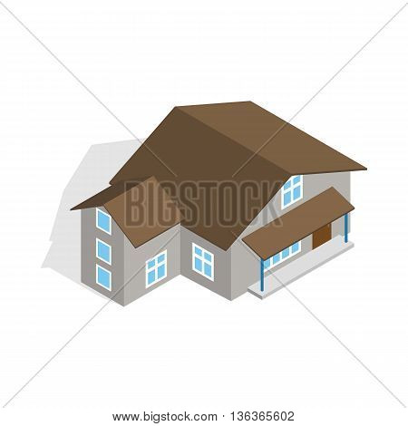 Three storey house icon in isometric 3d style isolated on white background. Construction symbol