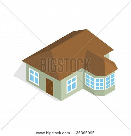 One storey house with veranda icon in isometric 3d style isolated on white background. Construction symbol