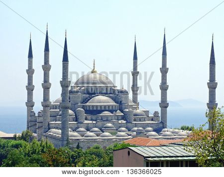 ISTANBUL TURKEY - AUGUST 03: Sultan Ahmed Mosque in Istanbul on AUGUST 03 2006. Aerial Shot of Blue Mosque With Six Minarets in Istanbul Turkey.