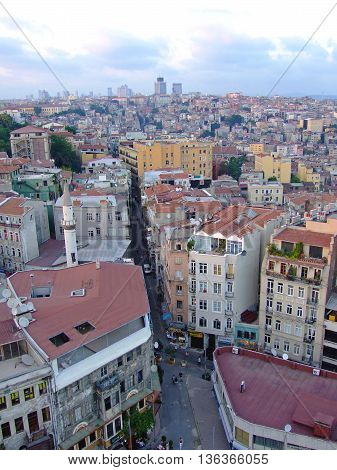 ISTANBUL TURKEY - JULY 26: Residential Area Beyoglu in Istanbul on JULY 26 2006. Aerial Cityscape From Galata Tower in Istanbul Turkey.