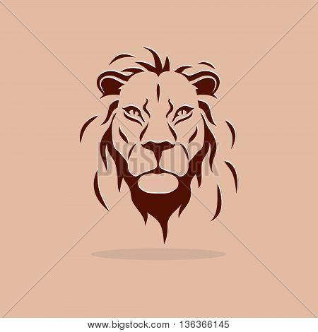Stylized lion head on a orange background