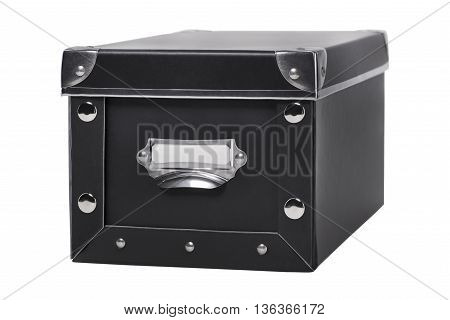 Storage box with metal corners isolated on white