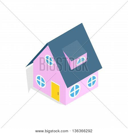 Pink house icon in isometric 3d style isolated on white background. Construction symbol