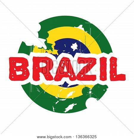 Hand drawn logo for Brazil. Green, yellow, blue, red color