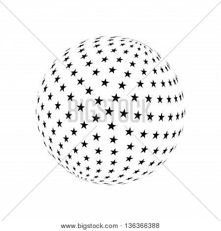 Abstract Sphere Element with Black Star Pattern Envelope Isolated on White Background