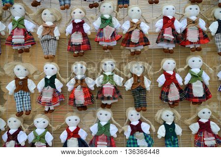 VILNIUS, LITHUANIA - MARCH 7: Traditional hand made toys in annual traditional crafts fair - Kaziuko fair on Mar 7, 2014 in Vilnius, Lithuania