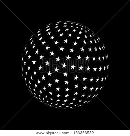 Abstract Sphere Element with White Star Pattern Envelope Isolated on Black Background