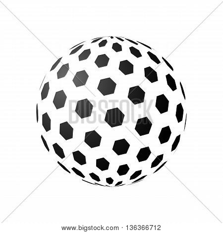 Abstract Sphere Element with Hexagon Pattern Envelope Isolated on White Background