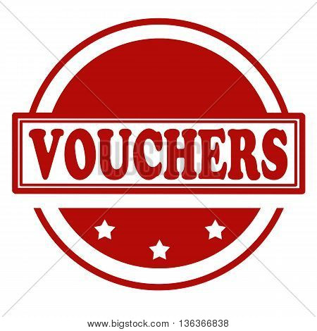 Red stamp with text Vouchers, vector illustration