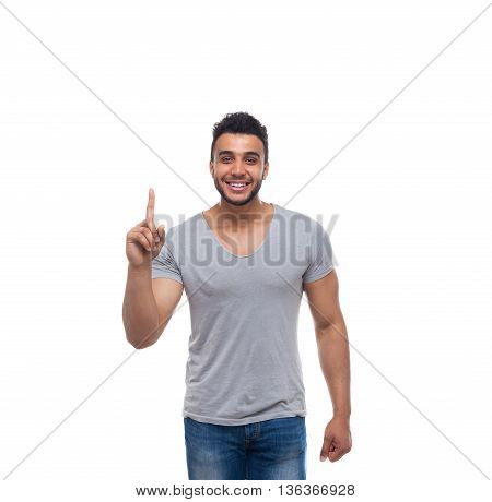 Casual Man Point Finger Up To Copy Space Happy Smile Young Handsome Guy Wear Shirt Jeans Isolated White Background