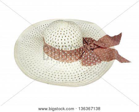 Pretty straw hat on white background texture