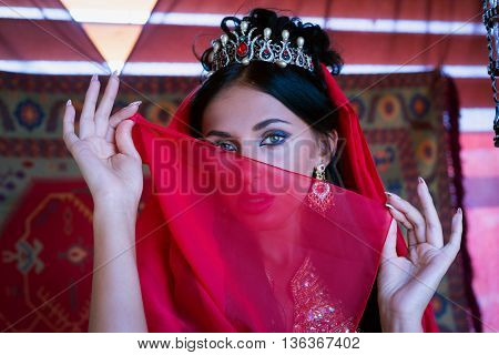 Gorgeous Eyes Of Young Indian Woman In Traditional Clothing With Bridal Makeup And Jewelry. Beautifu