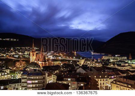 Night view of the Bingen am Rhein