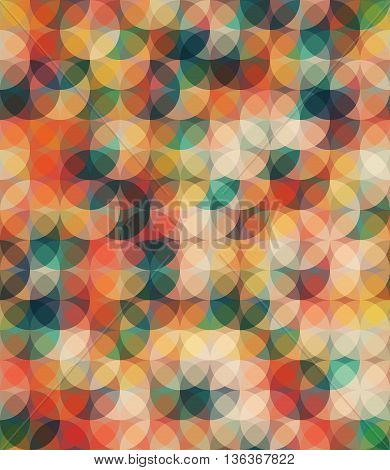 Warm colors seamless pattern. Trendy color palette. Circle spackling figures. EPS 10