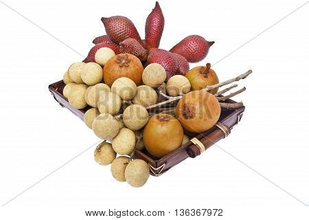 Composition of thai fruit isolated on the white background