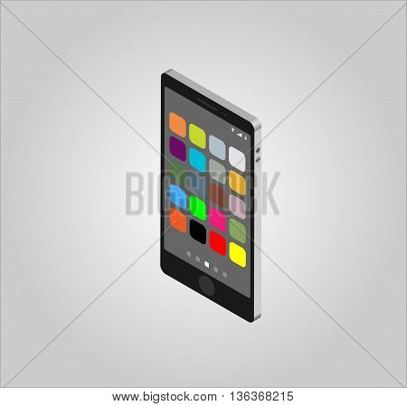 Mobile phone isometric and icons. Vector illustration. EPS10