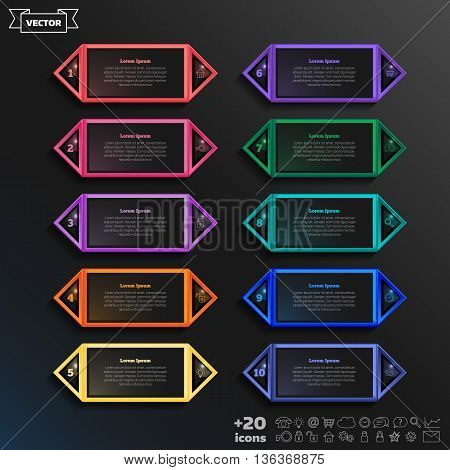 Vector Infographic Design List With Colorful Square.