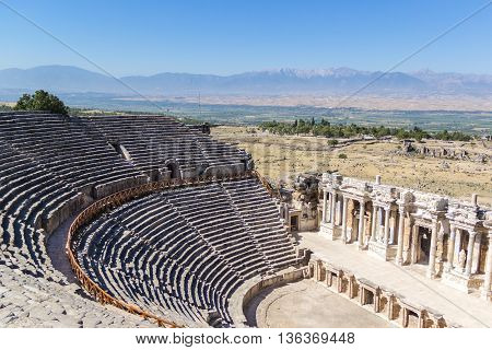 View on amphitheater in ancient Hierapolis Pamukkale Turkey