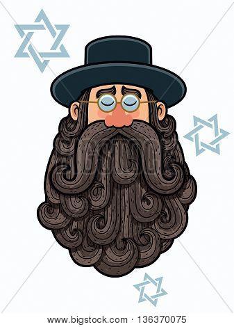 Cartoon Illustration of rabbi with big beard.