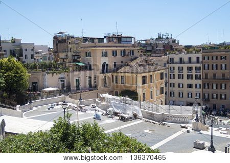 Rome Italy 17 June 2016. Stored equipment used for Spanish Steps restoration. Scalinata view from Trinita del Monti church. The restoration is estimated to cost 1.5 million euros.