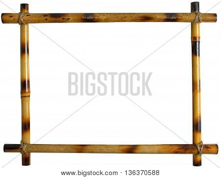 bamboo frame isolated on white background. sticks tied with rope