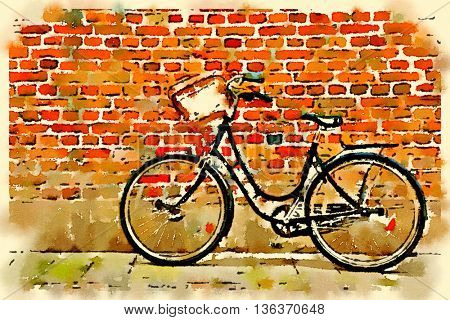 Digital watercolour of bicycle on a brick wall