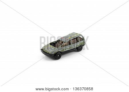 car dented color green isolated white background