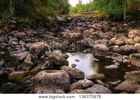 The stone river in Finland near the city of Kankaanpää which comes to spawning salmon.