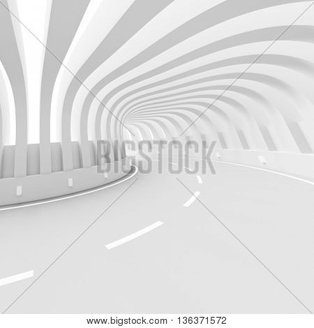 White Architecture Circular Background. Abstract Tunnel Design. 3d Modern Architecture Render. Futuristic Building Construction