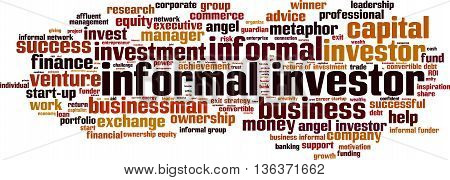 Informal investor word cloud concept. Vector illustration